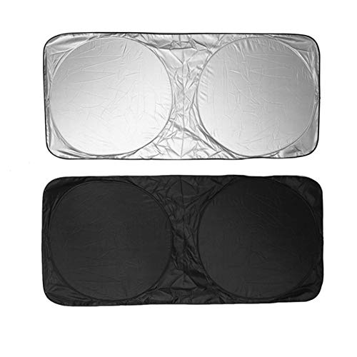 Parabrisas de Coches Sun Shade Front Window Velana Cubierta de Visera Sombrilla Plata Foil Anti UV Reflector Visitas de Ventana Frontal Compatible con Accesorios de automóviles Parasoles