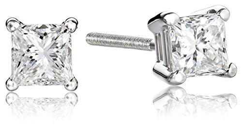 Hot Sale IGI-Certified Platinum Princess-Cut Four-Prong Diamond Stud Earrings (1 cttw, G-H Color, VS2 Clarity)