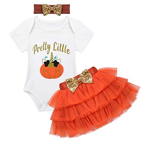 YiZYiF Bébé Fille Déguisement Halloween Body Robe Citrouille Barboteuse Costume Baptême Combinaison à Manche Court et Tutu Jupe Tulle et Bandeau Tenues Fête 0-12 Mois Orange 6-9 Mois