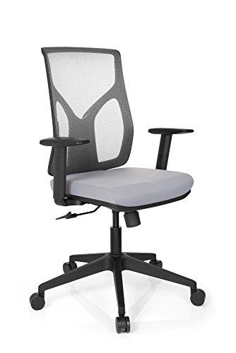 hjh OFFICE 731120 Bürostuhl TURAN Stoff/Netz Grau Home-Office Drehstuhl, Armlehnen höheverstellbar, Netzrücken