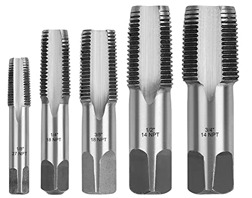 HORUSDY 5-Piece NPT Pipe Tap Set, Sizes Includes 1/8