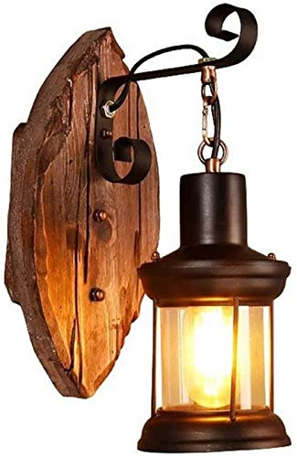 Luces de pared industriales, Retro Loft Kerosene Lámpara de pared Industrial Antiguo Afile de carbón Luz de pared E27 Hook Colgando Madera Base Base Superficie Luces Bar Cafe Restaurante Corredor Deco