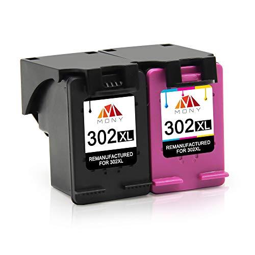 Mony Remanufactured Druckerpatronen Ersatz für HP 302 XL 302XL für HP Deskjet 3630 3636 2130 1110 Envy 4525 4520 4524 4527 Officejet 4650 4658 3833 Drucker, Europäische Chipversion(1 Schwarz,1 Farbe)