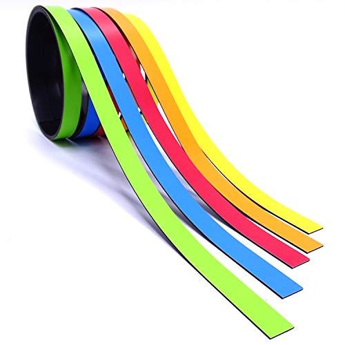 5x Magnet-Streifen farbig sortiert I 1cm x 1m Magnetband zum markieren einteilen auf Whiteboards Lager-Regale Kalender I Magnet-Etiketten I mag_210