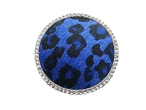 Magnetic Brooch Scarf Clip Clothing Poncho Bags Pen Textile Jewellery Circle Leopard Print Fur Blue - Black