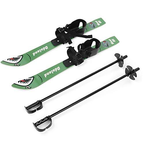 Odoland Ski-Set Kinderski All Mountain Ski Allmountain Rocker für 4 Jahre und jünger, Schneeflocke, Bequem Sicher Perfekt für die Schuhen 15,5-20,5 cm Grün