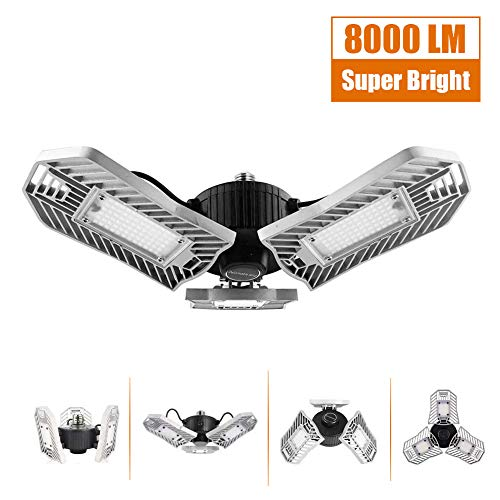 "Garage Lighting 80W, Led Garage Lights 8000lm, E26 Garage Light, LED Garage Ceiling Lights, Led Shop Lights, Workshop Light, Garage led Bulbs, Super Bright led Bulbs Light (Daylight, 80W""Ordinary"