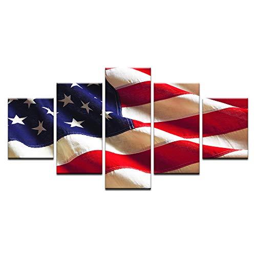 TFjXB Leinwandbild 5 Teilig,Amerikanische Flaggen,Installieren Sie Diese Modernen Leinwandbilder, Um Ihr Haus Zu Dekorieren Und Ihr Haus Einzigartiger Zu Machen!
