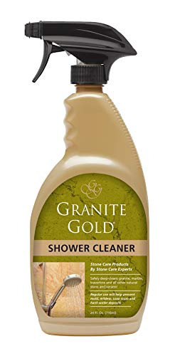 Granite Gold Shower Cleaner Spray Stone Cleaning Solution for Granite, Marble, Travertine, Quartz, Tile - Made in the USA, 24 Ounces