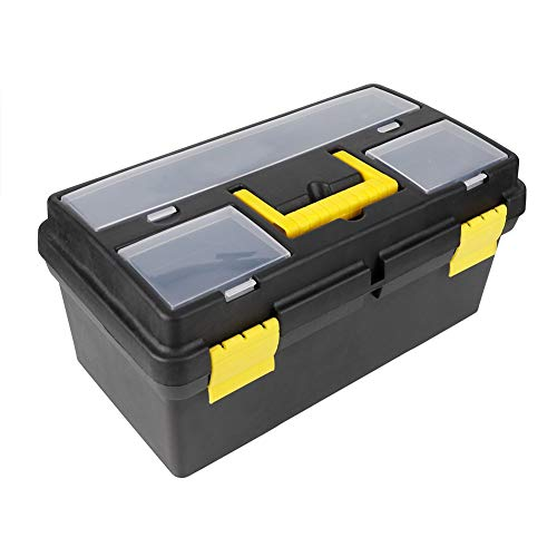 Zerone gereedschapskist, afsluitbaar, opbergbox voor gereedschappen, kunststof, met handvat, gereedschapskoffer, draagbaar, met vakken voor huis, werkplaats