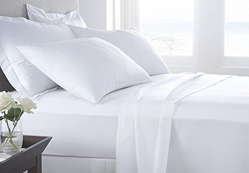 "VGI Linen Top Selling Egyptian Cotton - Quality 4-PCs Bed Sheet Set (1 Fitted Sheet with 10"" Pockets, 1 Flat Sheet and 2 Pillow Case) Solid Pattern 600-TC (Full, White)"
