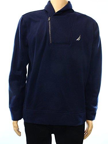 Nautica Mens Medium Asymmetrical Quarter Zip Shawl Collar Sweater Blue Medium