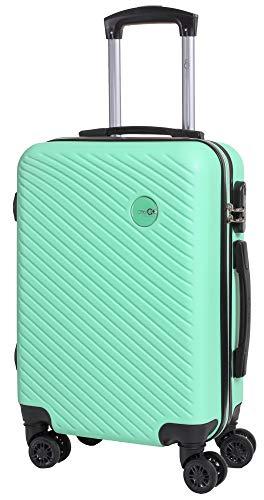 CABIN GO MAX 5508 Valigia Trolley ABS, bagaglio a mano 55x37x20, Valigia rigida, guscio duro e antigraffio con 8 ruote, Ideale a bordo di Ryanair, Alitalia, Air Italy, easyJet, Lufthansa VERDE