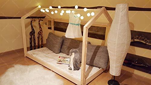 Hyggelia Bett für Kinder, Hausbett, Kinderhaus, Kinderbett Sicherheitbarrieren, 5 Tage Versand (120 x 60 cm, Sicherheitbarieren: Kein)