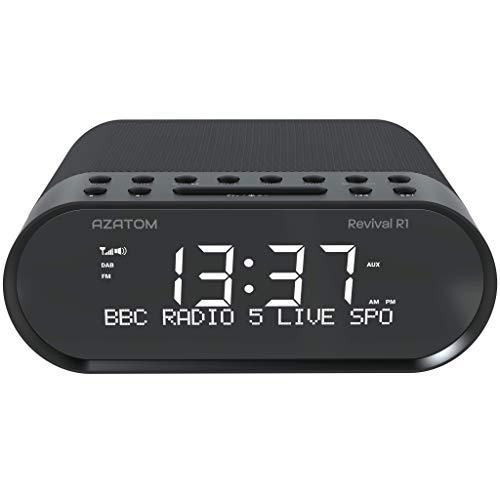AZATOM Revival DAB+ DAB Digital FM Radio, Dual Alarm Clock, Bluetooth 5.0, Sleep Timer, USB Moblie Charger, Headphone & AUX (Black)