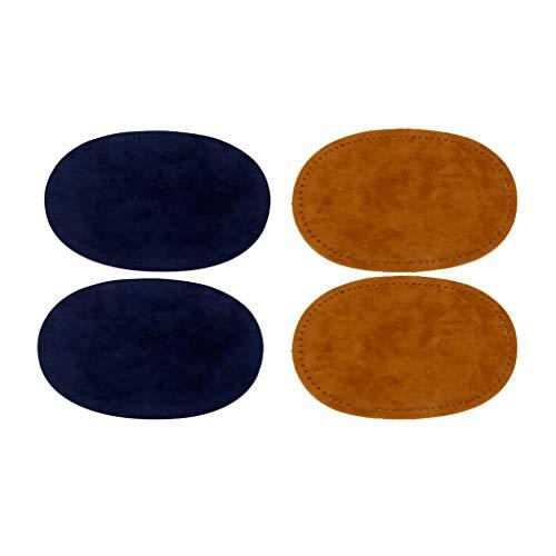 dailymall Paquete de 2 Pares de Rodilleras Ovaladas para Coser en El Codo Café Azul Amarillo