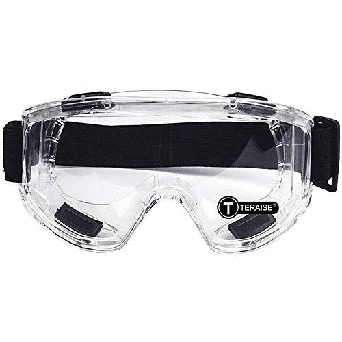 TERAISE La seguridad Mirada sorprendida Lente clara Gafas de alto impacto/resistencia a salpicaduras con Correa ajustable para Protectores Industriales, Químico y Deportes al aire libre