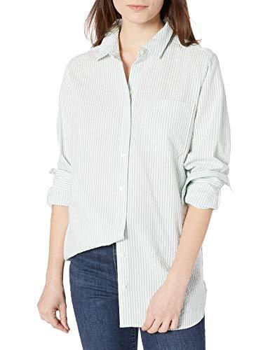 Amazon Brand - Goodthreads Women's Seersucker Long Sleeve Oversized Boyfriend Shirt, Mint Green/White Stripe, Small