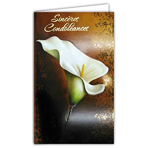 Afie Carte Sincères Condoléances Fleur Arum Blanc Calla Zantedeschia en relief gaufrage papier