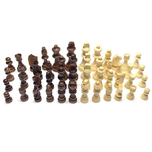 HUANGHUANG 32 piezas de madera de ajedrez internacional sin tabla, figuras de ajedrez de madera estándar de torneo, más suave y brillante.