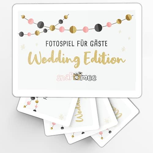 Fotospiel Hochzeit snaPmee | 50 Fotoaufgaben + 4 Blanko-Fotokarten | Hochzeitsspiel & einfaches Kennenlernen für Gäste | Spielbar mit Einwegkamera, Polaroid, Fotobox | Geschenk Brautpaar (Pocket)