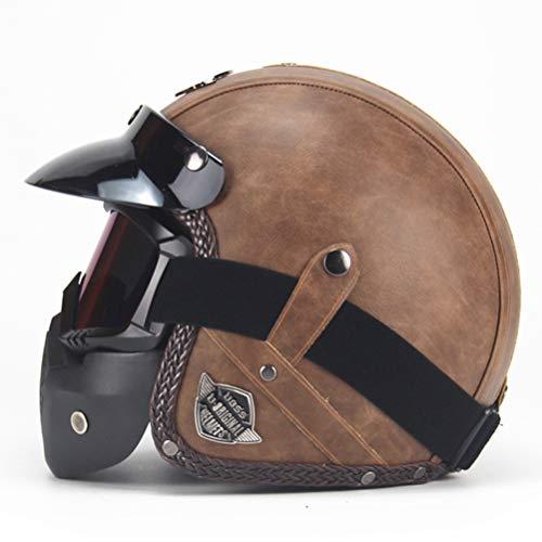 Cascos de cuero de la PU 3/4 Casco de moto Chopper de motocicleta Casco de moto vintage de cara abierta con máscara de gafas