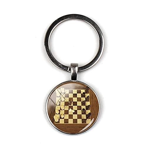 Llaveros de ajedrez internacionales, Piezas de ajedrez de Tablero de ajedrez, Bolsa Colgante de cúpula de Cristal, Llavero de Coche, Anillo, Regalo de ajedrez