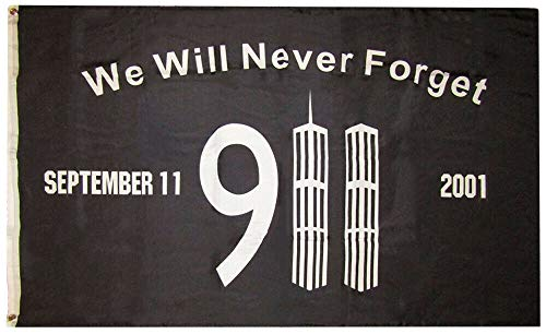 MWS 3x5 We Will Never Forget 911 Memorial Black Twin Towers Premium 150D Woven Poly Nylon 3'x5' Premium Quality Nylon Polyester Flag Grommets Double Stitched Premium Quality Indoor Outdoor