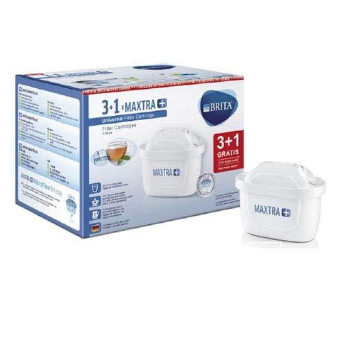 Brita 08PURBRIMAX3Y1 MAXTRA+ Pack de 3 + 1 cartouches de filtration pour l'eau, recharges compatibles avec des verres qui réduisent le calcaire et le chlore, plastique, blanc