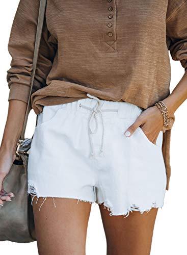 Sidefeel Women Distressed Elastic Waist Raw Hem Drawstring Denim Jeans Shorts Small White