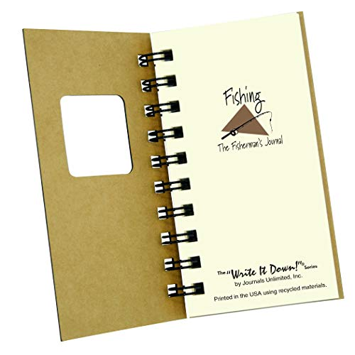 """Journals Unlimited """"Write it Down!"""" Series Guided Journal, Fishing, The Fisherman's Journal, Mini-Size 3�x5.5�, with a Kraft Hard Cover, Made of Recycled Materials Photo #4"""