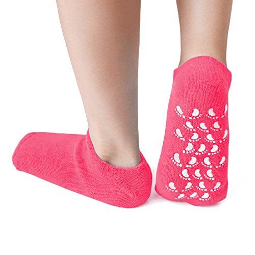sourcing map Feuchtigkeit Exfolieren Behandlung Rutschfest Gel Socken Magenta 1 Paar de