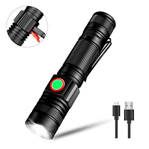 Linkax Torcia LED USB Ricaricabile Torce LED Alta Potenza Flashlight Regolabile Impermeabile 5 modalità di illuminazione per Campeggio Trekking Bicicletta con batteria 18650