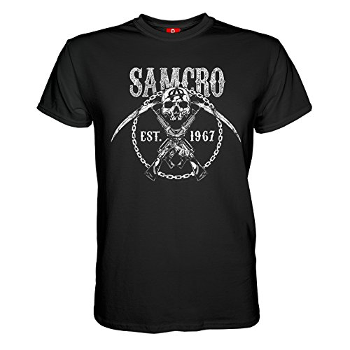King of Merch - Herren T-Shirt - Sons of Anarchy Chain Gang Totenkopf Deadskull SOA Teller Morrow Jax Opie MC Motorrad Club Redwood Originals California Tig Chibs Hells Angels Tara Knowles Schwarz S