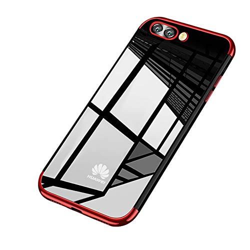Surakey Cover Huawei Honor V9/Honor 8 Pro, Ultra Trasparente HD Crystal Clear TPU Silicone Cover Bordo Placcatura Colorata Protettiva Skin Ultra Sottile e Morbida Custodia per Huawei Honor V9,Rosso