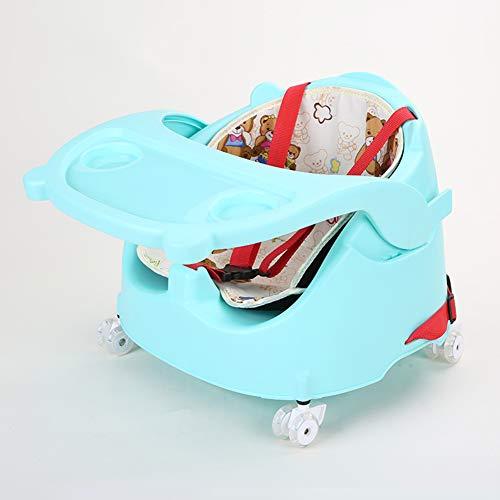 ZZXHV Chaise Haute - 4 Roues - Réglable, Pratique et Compacte - Nature,Plateau Clipsable (Nettoyage Facile), Coussin Bébé Confort,Vert
