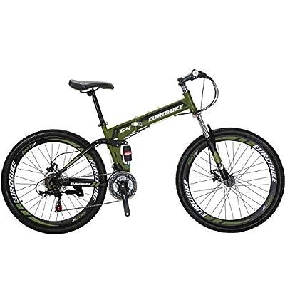 Eurobike 26 Inch Mountain Bike Folding Bicycle 21 Speed 3 Colors (Green)