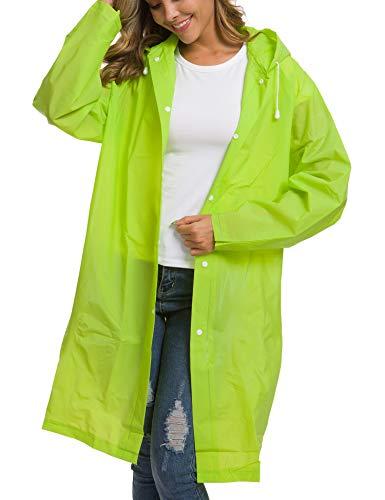 Clear EVA Raincoat Women Waterproof Rain Ponchos Long Rainwear Packable Lightweight Hooded Raincoat Travel Fishing Hiking Daily Use Green M