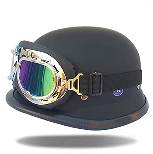 WANGFENG Casco de piel para motocicleta de media cara, seguro para proteger casco DOT certificadobiker Pilot Goggles Chopper Cruiser Biker Casco+gafas