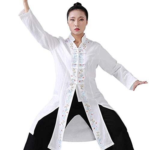 XGYUII Mujeres Tai Chi Ropa Tai Chi Ejercicio Taekwondo Tai Chi Traje Artes Marciales Floral Bordado Top Kung Fu Uniforme,Blanco,M
