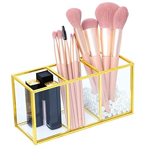 KAMEUN Estuche organizador de maquillaje de cristal transparente para pinceles de maquillaje, cosméticos, para pintalabios, pinceles de maquillaje
