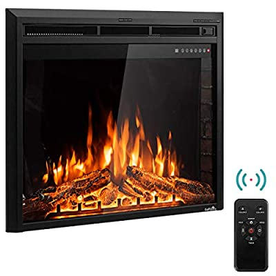 Tangkula Electric Fireplace Insert Smokeless Modern Electric Fireplace Heater Insert with Remote Control and Adjustable Time Setting for Home Use Electric Stove Heater, Black
