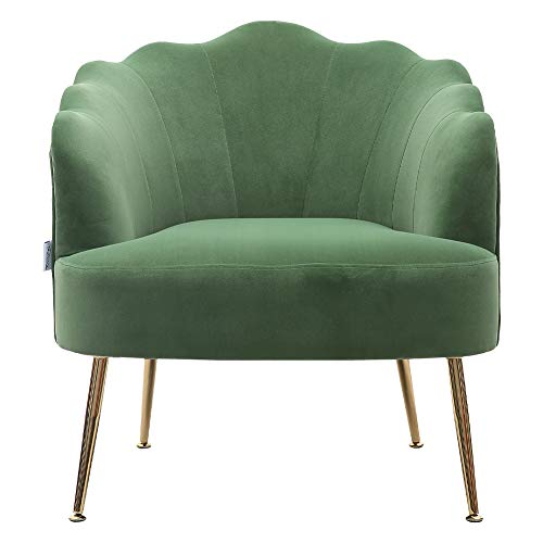 INMOZATA Shell Accent Chair in Green Armchair Stylish Velvet Fabric Upholstered Tub Chair for Dining Living Room Bedroom Lounge