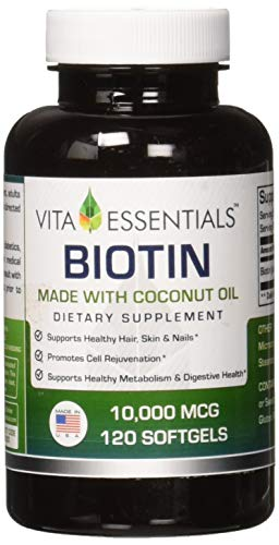 Vita Essentials Biotin with Coconut Oil 1000 Mg Soft Gels, 120 Count