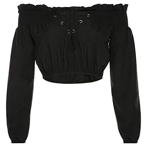 Frauen Diablo-Serie Kurzer Absatz Kampf LAN Durchbrochene Spitze Kragen Trägerlos Spitzen Lose Pullover Mit Langen Ärmeln T-Shirt Tunika Sexy (Color : Black, Size : S)