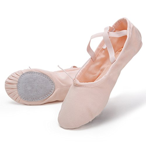 Pro High-Count Cotton Canvas Ballet Dance Slippers (Ballet Pink, 7M Big Kid)