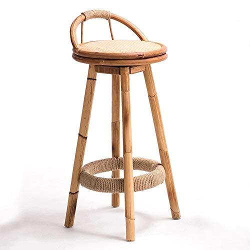 Axdwfd Barkruk, retro, Japanse kunst, bamboe-rotan, barstoel, eenvoudige en elegante Chinese soort-staafstoel