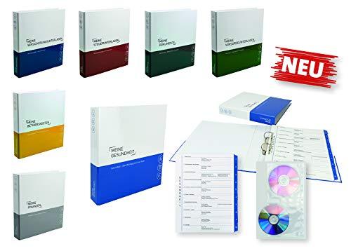 7er-Pack Themenringbücher mit Register für Versicherungen/Steuern/Vorsorge/Finanzen/Dokumente/Betriebskosten/Gesundheit, Optimale Struktur für die Ablage der wichtigsten Dokumente