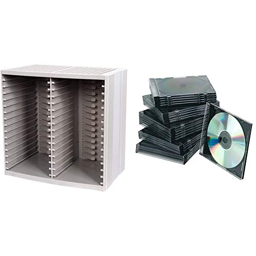Title Fellowes CD Storage Unit, Holds 30 Discs + 18 on Top of CD Rack, Grey & Q-Connect KF02210 Slim Jewel Case for CD - Black, Pack of 25