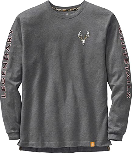(X-Large, Charcoal Heather) - Legendary Whitetails Men's Non-Typical Series Long Sleeve T-Shirt